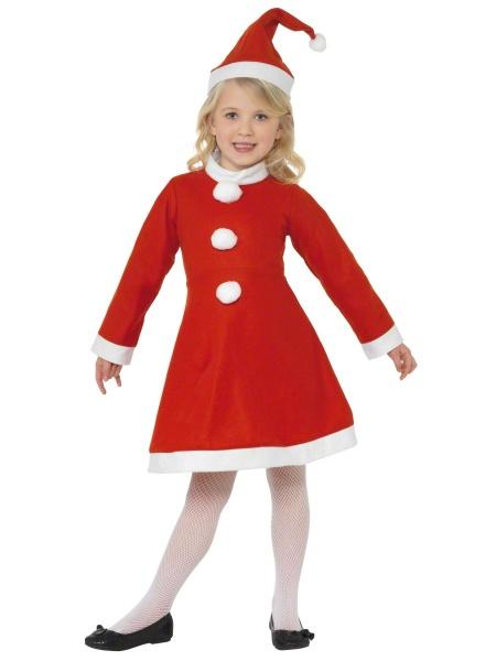 bbe3e2294 Dětský vánoční kostým se skládá z roztomilých červených šatiček a čepičky.